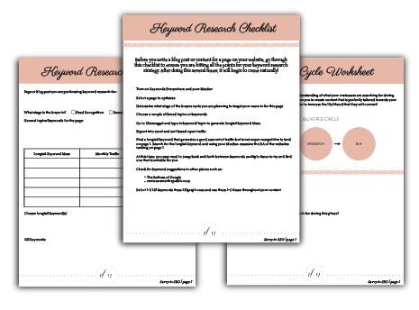 SEO course worksheets mockup